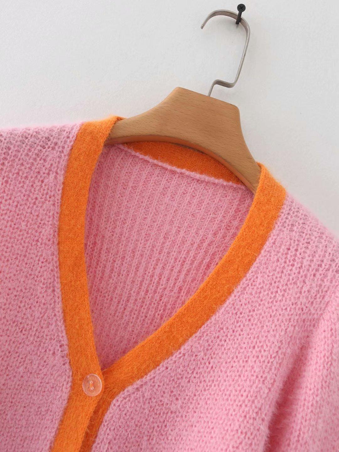 Pink cardigan womens sweaters korean crop sweater yellow autumn tops short sleeve v neck short cardigan mohair sweater fall 19 19