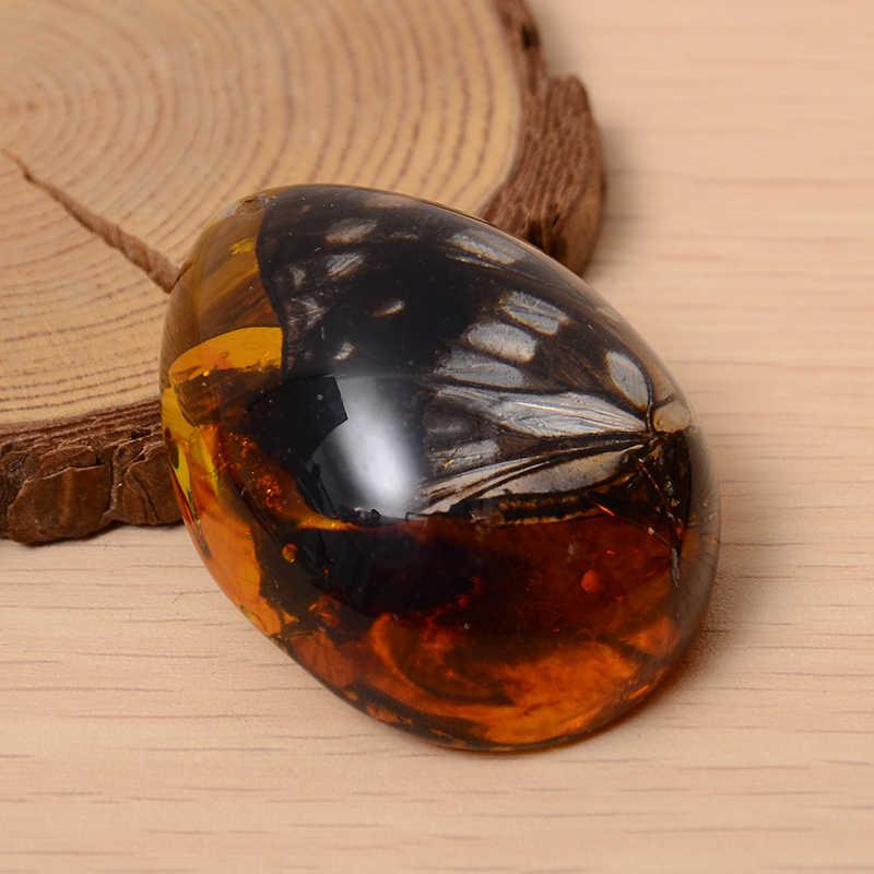 Nuevo colgante ámbar Artificial piedra abejas insectos mariposa resina cera piedra DIY COLLAR COLGANTE joyería decoración artesanal favorito