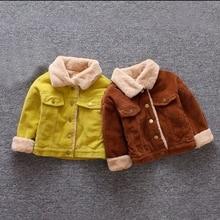 Осенне-зимняя хлопковая верхняя одежда с длинными рукавами для маленьких мальчиков и девочек Повседневная однотонная бархатная новая шерстяная Верхняя одежда с отворотом