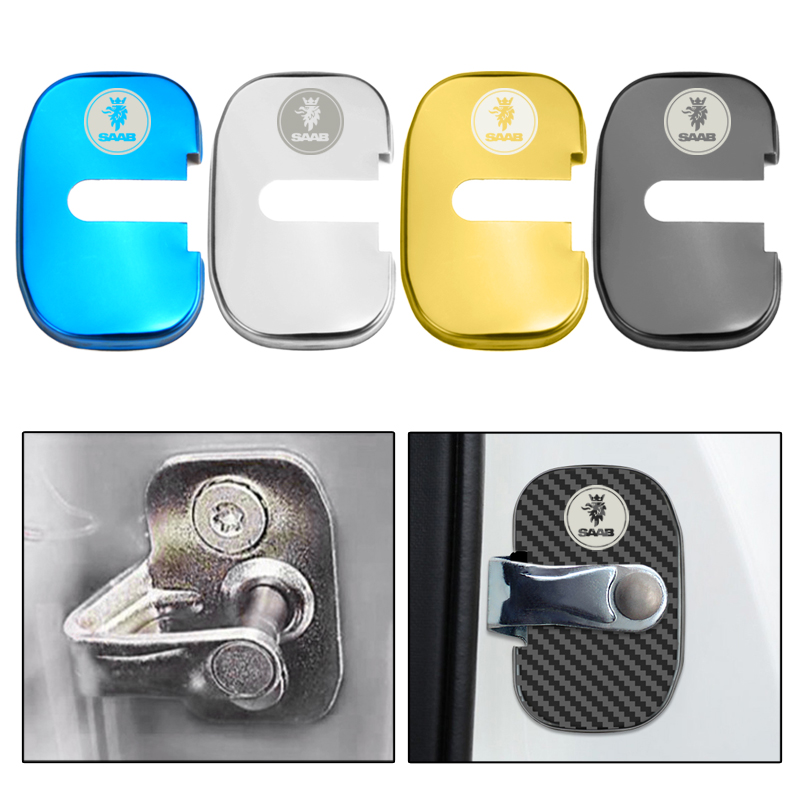 4PCS Car Styling Decoration Stickers Auto Door Protection Lock Cover For Saab 428 900 03-10 9-3 9000 93 2003 2012  Accessories