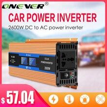 Onever 2600 واط سيارة العاكس 12 فولت 220 فولت 50 هرتز الاتحاد الأوروبي المخرج 12 فولت 220 فولت السيارات العاكس 12 220 محول طاقة السيارة محول محول جهد كهربي
