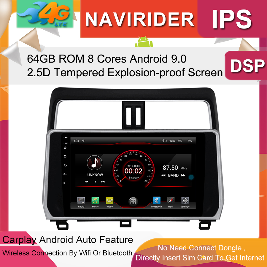 Built in 4G Lte car Intelligent navigation tape recorder 9.0 android car gps radio <font><b>multimedia</b></font> player for <font><b>toyota</b></font> Prado <font><b>2019</b></font> image