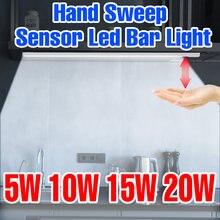 Lampe sous-meuble 5V, capteur de balayage à la main PIR, USB, lampe de cuisine, placard, ampoule de nuit, éclairage de garde-robe intelligent 20 30 40 50CM