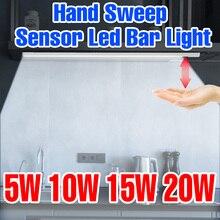 5V Under Cabinet Lamp PIR Hand Sweep Sensor Light USB Kitchen Light Closet Lamp Night Bulb Smart Wardrobe Lighting 20 30 40 50CM