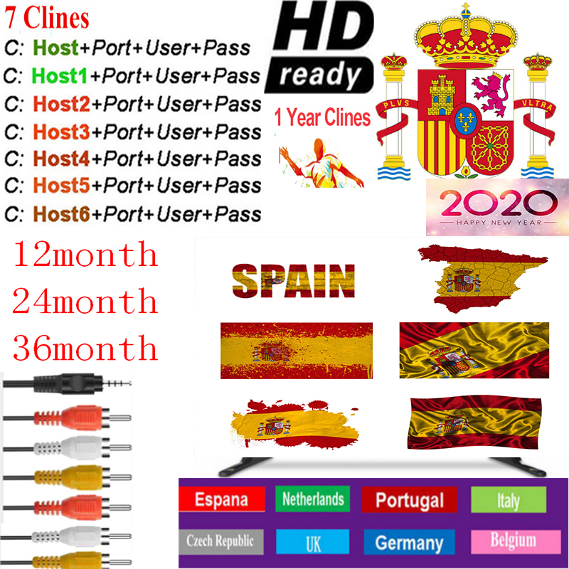 Cccam Europa Server  Spain 1 Year Portugal Germany Poland Satellite Tv Receiver 7Clines For DVB-S2 X800 X800S V7  V7s V8 Nova V9