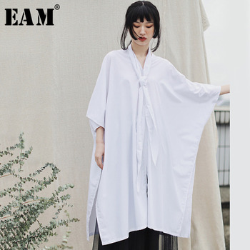 [EAM] Women White Brief Big Size Blouse New V-collar Three-quarter Sleeve Loose Fit Shirt Fashion Tide Spring Autumn 2020 1T586