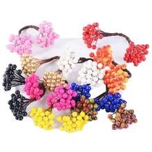 20PCS Double Heads Artificial Berry Stamen Flower For Scrapbook Wreath Craft Fake Flower Wedding Home Party Decoration DIY