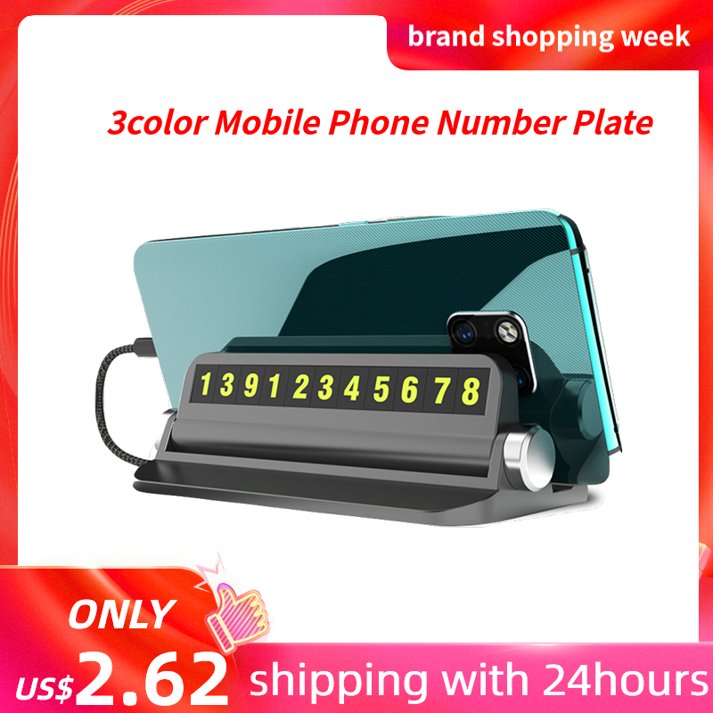 Multi-functional Car Temporary Parking Card With Smartphone Holder Hidden Luminous Mobile Phone Number Plate