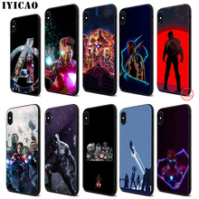 IYICAO Avengers Marvel Thanos Soft Black Silicone Case for iPhone 11 Pro Xr Xs Max X or 10 8 7 6 6S Plus 5 5S SE iyicao marvel comics the black panther soft black silicone case for iphone 11 pro xr xs max x or 10 8 7 6 6s plus 5 5s se