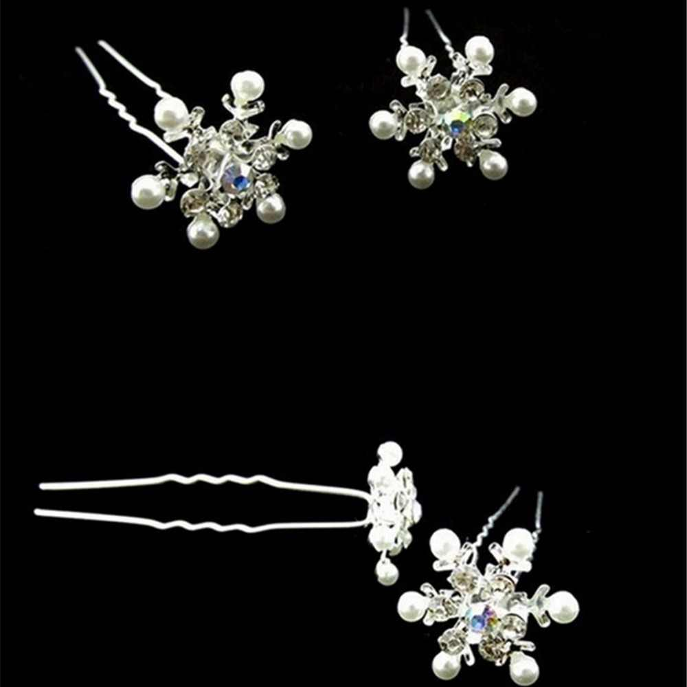 U รูปร่างแฟชั่น Pins Silver เครื่องประดับผม Headdress งานแต่งงานดอกไม้คริสตัลเจ้าสาว Hairpin คลิปเพื่อนเจ้าสาว