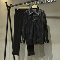 New arrival OL elegant suit 2020 spring beading lace Shirts+pencil pants two piece set B476
