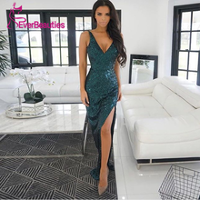 цены Evening Dress 2020 Party Dress Formal Dress Bling Sequins V Neck Vestidos Side Split Sukienki Gala Jurk платье вечернее платье
