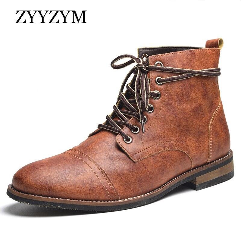 ZYYZYM Men Boots Leather Autumn Winter Lace Up Men Ankle Boots Plush Keep Warm Boots Brithsh Boots For Men Zapatos De Hombre