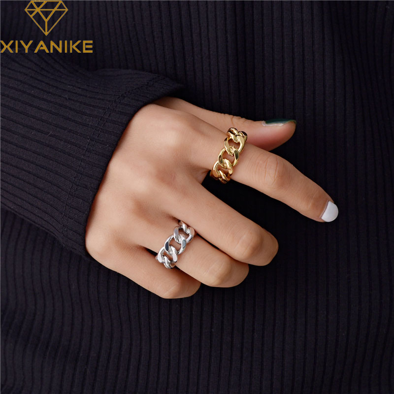 XIYANIKE Trendy 925 Sterling Silver Chain Rings for Women Couples Vintage Handmade Twisted Geometric Finger Jewelry Party Gifts 1