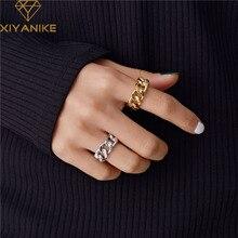 Модные кольца XIYANIKE из стерлингового серебра 925 пробы с цепочкой для женщин и пар, винтажные, ручной работы, витые, геометрические, на палец, ю...