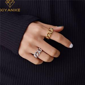 Женские винтажные кольца с цепочкой XIYANIKE, витые геометрические кольца ручной работы из стерлингового серебра 925 пробы, вечерние ювелирные и...