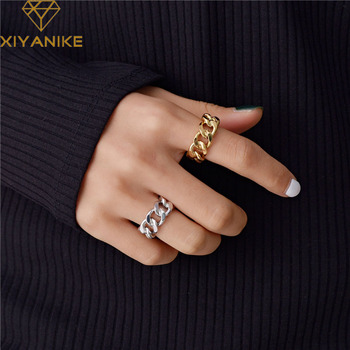 XIYANIKE Trendy 925 Sterling Silver Chain Rings for Women Couples Vintage Handmade Twisted Geometric Finger Jewelry Party Gifts