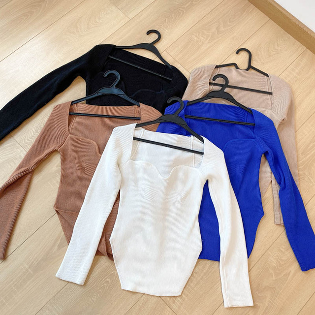 Square Collar Long Sleeve Woman Sweaters Knitted Pullover Women Spring Autumn Sweater Winter Tops For Women Black White Jumper 6