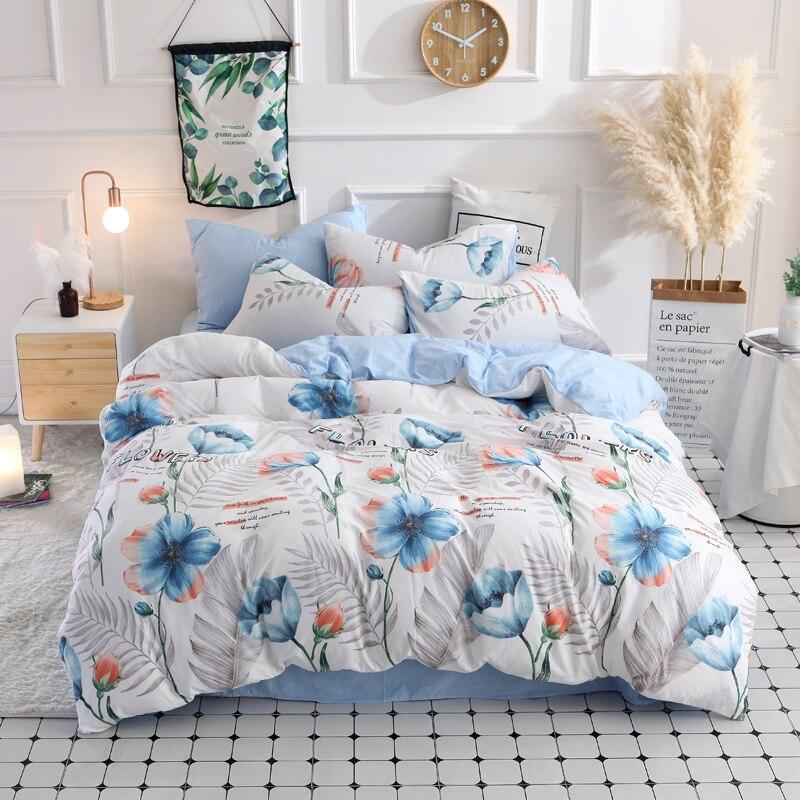 Blue flowers bedding set Quilt Cover Flat Sheet Pillow Cases Single Double size Home Textile
