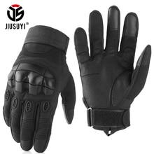 สีดำทหารยางHard Knuckleถุงมือยุทธวิธีหน้าจอสัมผัสCombat AirsoftทหารจักรยานFull Fingerถุงมือผู้ชาย