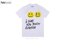 19SS CPFM XYZ Tshirt Graffiti uśmiech twarz CPFM XYZ W W C D lubię cię Kanye West hiphopowy sweter TEE CPFM t-shirty mężczyźni kobiety tanie tanio Krótki CN (pochodzenie) O-neck regular JERSEY COTTON HIP HOP Drukuj