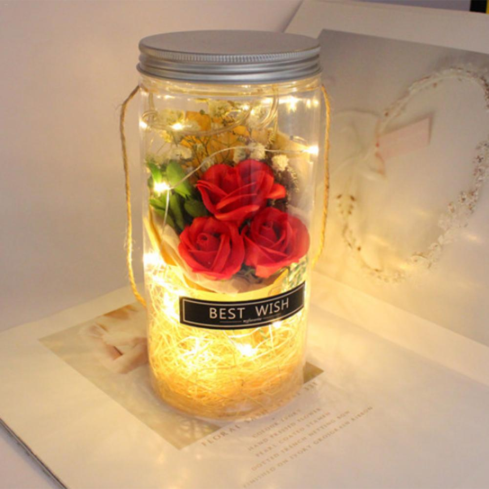 Wishing Bottle Night Lamp Valentine's Day Wedding Festival Creative Gift New Handmade Soap Rose Romantic Mini Vase Night Light