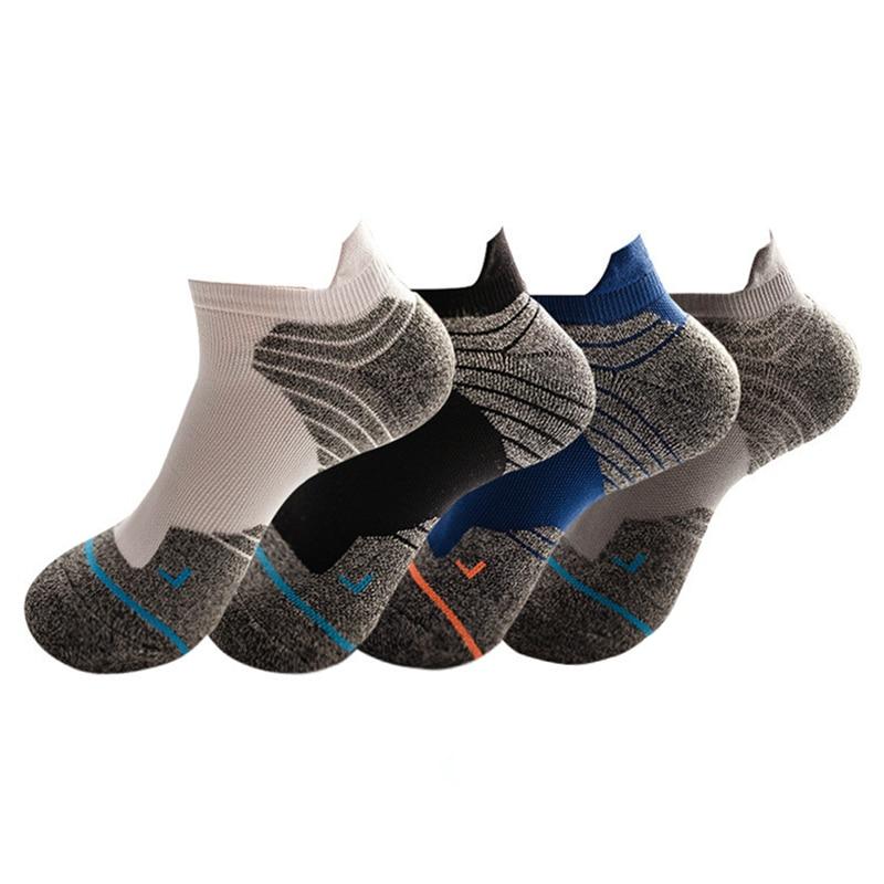 4 Pair Sports Socks Men Outdoor Running Basketball Socks Towel Bottom Ankle Socks Breathable Elastic Sweat Absorbent
