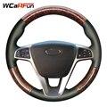 WCaRFun сшитый вручную черный чехол рулевого колеса автомобиля из искусственной кожи для Lada Vesta 2015 2016 2017 Vesta SW Cross
