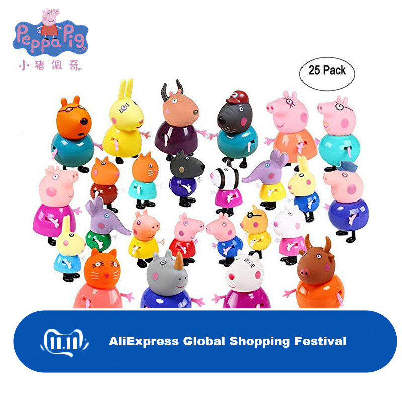 Original Peppa Pig Family Friends Action Figure Set Toys PVC Anime Peppa Cake Figura George Mom Grandma Grandfa Gift Toy For Kid