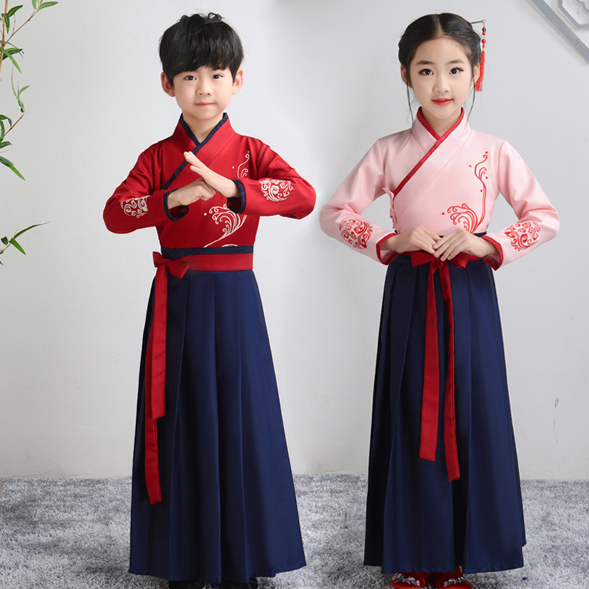 Boy Girl Hanfu Opera Ancient Style Cosplay Tang Dynasty Folk Dress Dance Costume Traditional Chinese Costume Festival Outfits