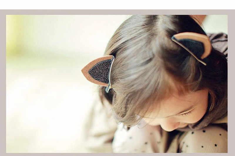 2 pz/set Carino Pinze Per Le Ragazze Glitter Bambini Feltro Tessuto Dei Capelli Forcine Bella Ornamento Gatto Orecchie da Coniglio Per Bambini Accessori Per Capelli