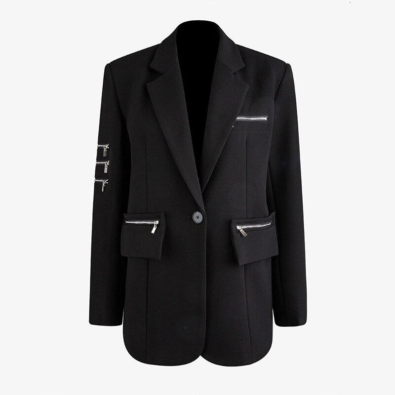 []  Women Black Zipper Split Temperament Blazer New Lapel Long Sleeve Loose Fit  Jacket Fashion Spring Autumn 2020 1N078