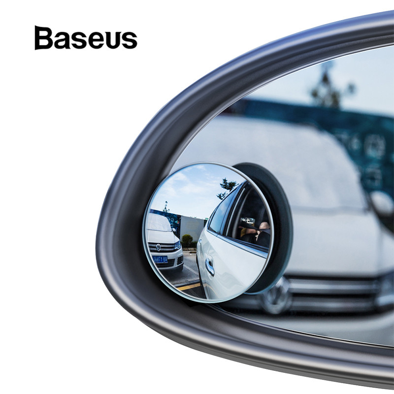 Baseus 2 Pcs Auto 360 Grad HD Blinden Fleck Konvexen Spiegel Auto Rückspiegel Weitwinkel Fahrzeug Parkplatz Randlose Spiegel