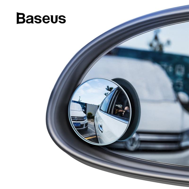 Baseus 2 Stuks Auto 360 Graden HD Dodehoekspiegel Bolle Spiegel Auto Achteruitkijkspiegel Groothoek Voertuig Parkeren Randloze Spiegels