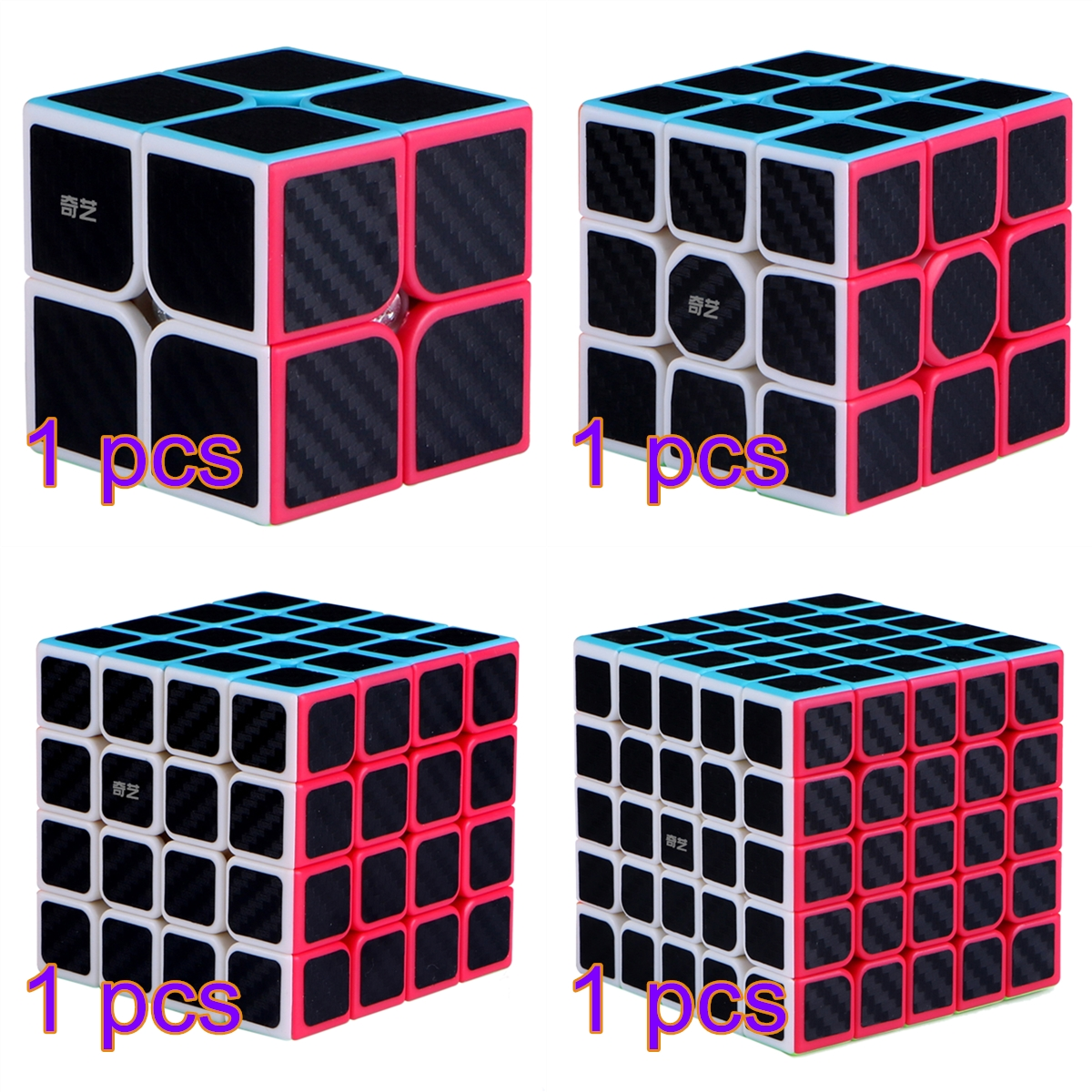 4Pcs <font><b>Qiyi</b></font> Stickered Version Cube Set Qidi <font><b>S</b></font> 2x2 Warrior W <font><b>Qiyuan</b></font> <font><b>S</b></font> <font><b>4x4</b></font> Qizheng <font><b>S</b></font> 5x5 Speed pandora cube toys image