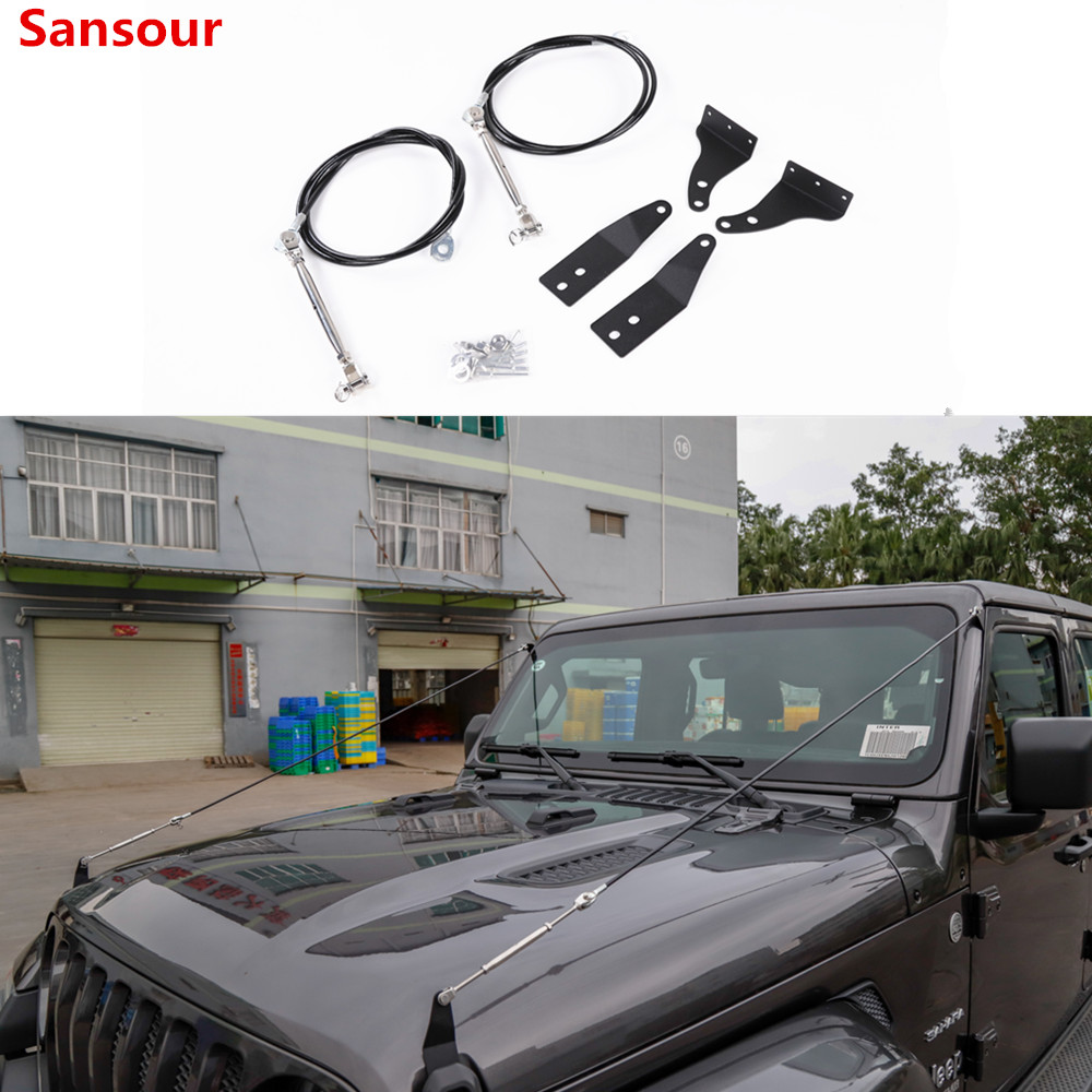 Sansour Styling Mouldings for <font><b>Jeep</b></font> Wrangler JL 2018 Car <font><b>Hood</b></font> <font><b>Latch</b></font> Lock Obstacle Eliminate Rope for <font><b>Jeep</b></font> JL Wrangler Accessories image