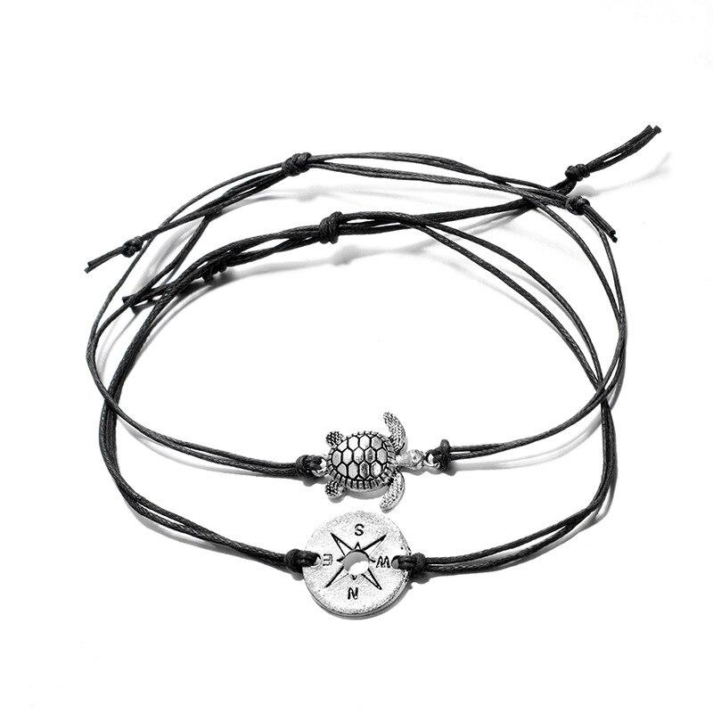 Tocona Bohemia Compass Sea Turtle Wave Pendant Chain Bracelets Set for Women Handmade Jewelry Accessories 6706 in ID Bracelets from Jewelry Accessories