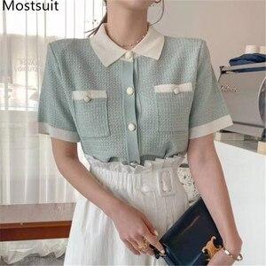Женские винтажные трикотажные футболки с коротким рукавом и отложным воротником, однобортная трикотажная футболка, лето 2020