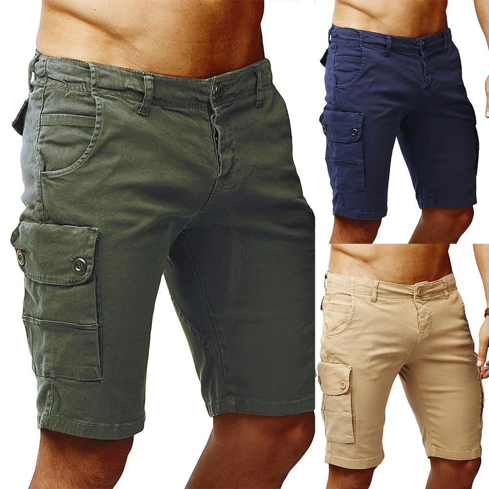Men Casual Solid Color Button Zip Multi Pockets Cotton Shorts Beach Trousers