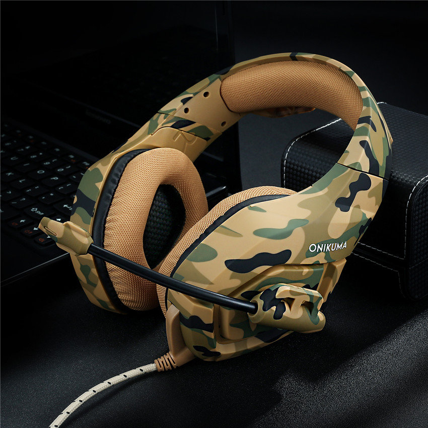 ONIKUMA K1 Camouflage PS4 Headset Bass Gaming Headphones Game Earphones Casque with Mic for PC Mobile Phone New Xbox One Tablet 4