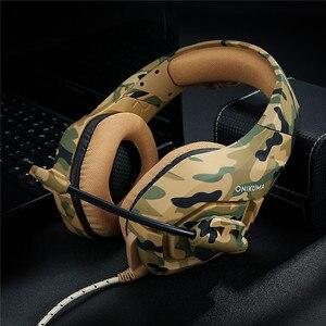 Image 5 - ONIKUMA auriculares K1 de camuflaje para PS4 cascos de graves para videojuegos, con micrófono, para PC, teléfono móvil, Xbox, One y Tablet