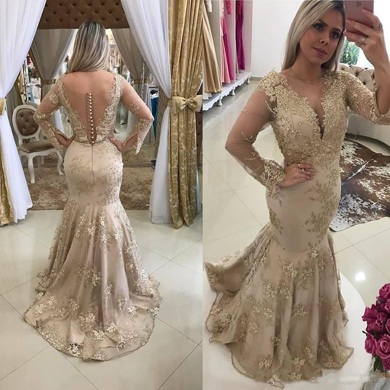Designers Champagne Mermaid   Prom     Dresses   2019 Illusion Long Sleeves Sheer Backless Appliqued Sequins Party Evening Gowns Party