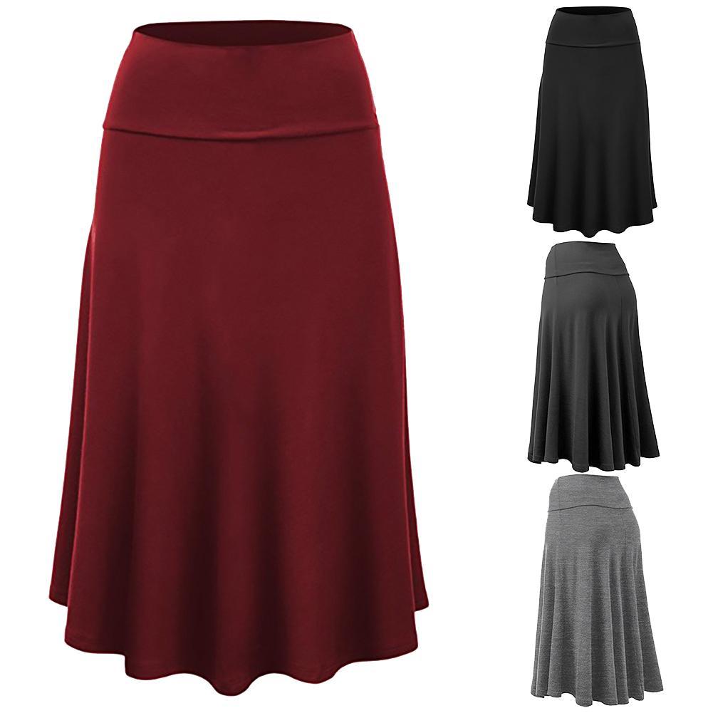 Skirt Black Long Party Dance Fashion Women Solid Color Flare Hem High Waist  Midi Skirt/skirts Womens/faldas