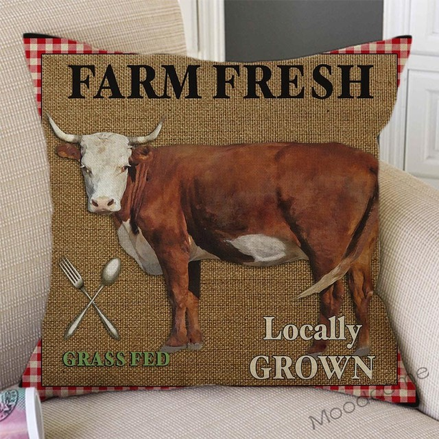 Vintage Farm Life Rooster Cow Vegetable Fruits Farm Fresh Art Home Decor Pillow Cover Relaxed Leisure Rural Life Cushion Covers 2