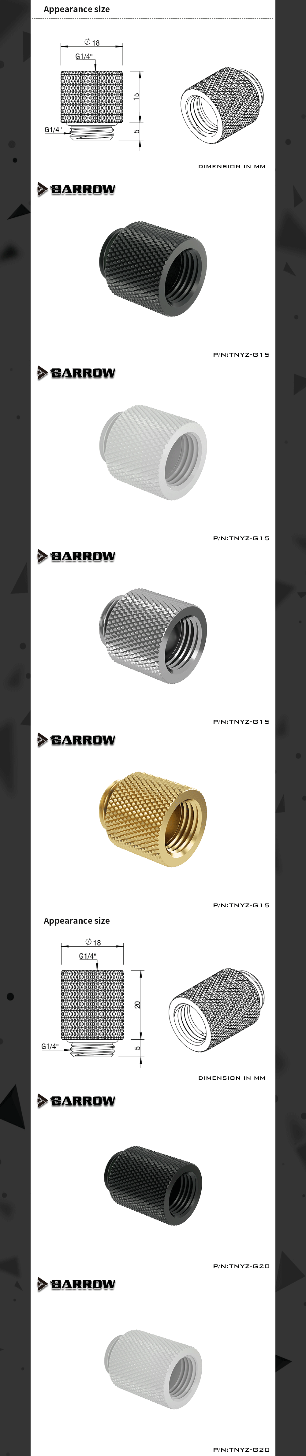 Barrow TNYZ Series Male To Female Extender Fitting , 7.5 10 15 20 30 40 mm Length G1/4 M2F Adapter
