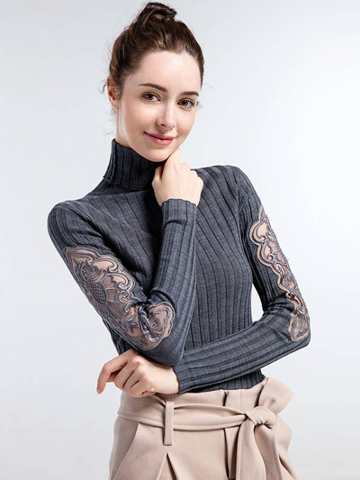 Turleneck Female Thick Lace Patchwork Crochet Sweaters korean Long Sleeve Outwear Clothes winter Autumn Sweaters Tops Jumper in Pullovers from Women 39 s Clothing