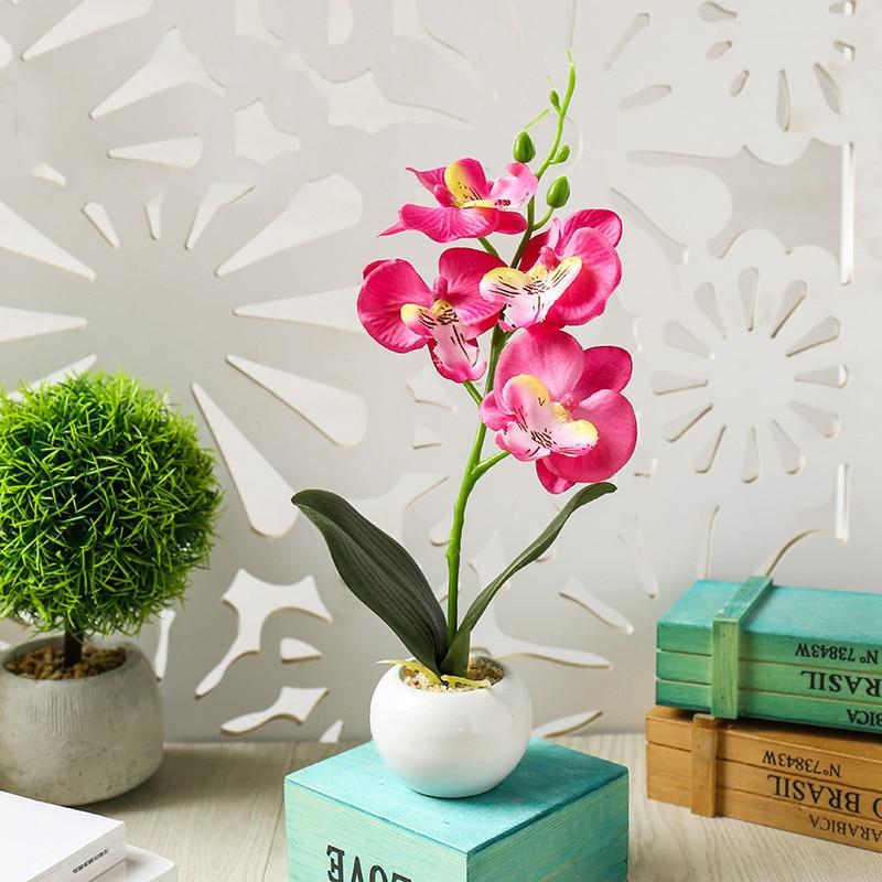 26cm Tall Silk Flower Orchid Artificial Plant Pot Home Floral Decor Four Color