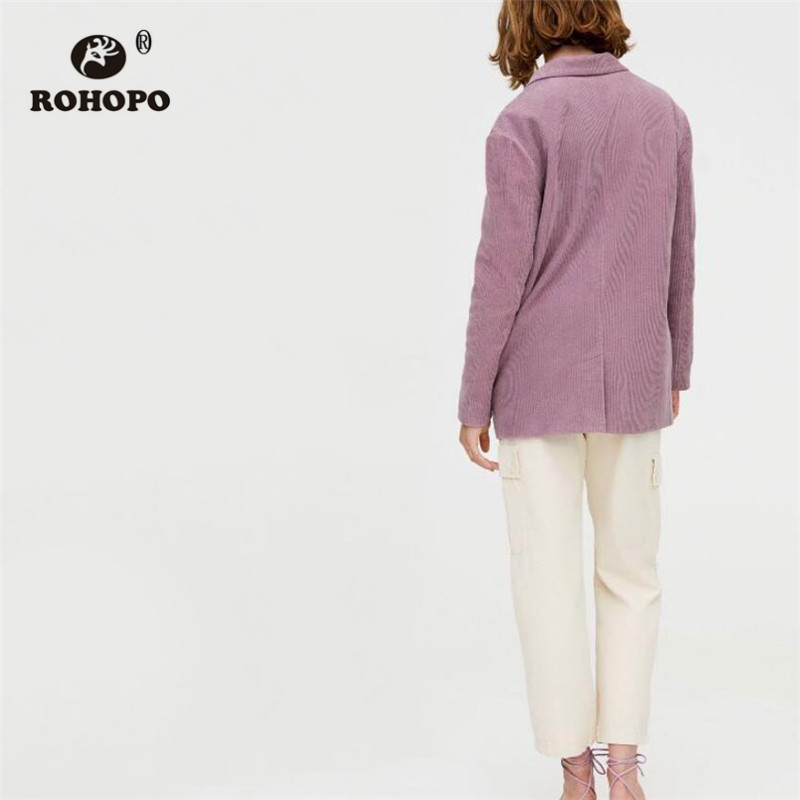 ROHOPO Corduroy Cotton Pink Blazer Autumn Ribbed Fabric Side Welted Pockets Double Buttons Solid Slim Outwear #2309