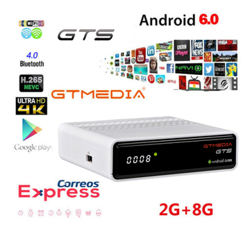 Android box GTmedia GTS Android 6.0 4K Smart TV BOX DVB-S2 SET TOP BOX 2G/8GB BT4.0 with 1 year free cline support Gtplayer m3u