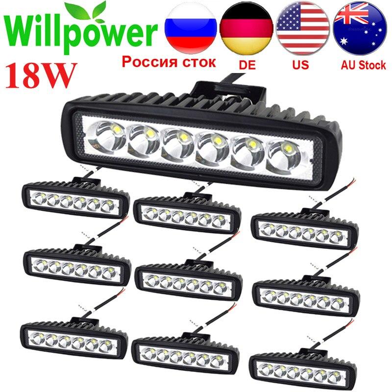 "10Pcs 6"" 18W LED Light Bar 12V 24V Motorcycle Offroad 4x4 ATV Spot Daytime Running Lights Truck Tractor Warning Work SpotlightLight Bar/Work Light   -"